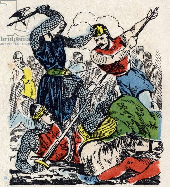 The Battle of Bouvines, 1214: King Philip II Augustus is saved by a young knight (Battle of Bouvines, 1214) Image of Epinal 19th century
