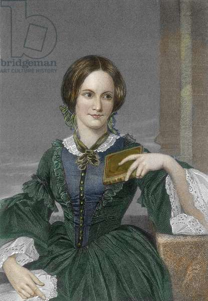 Portrait of the English novelist Charlotte Bronte (1816-1855) (Portrait of english writer Charlotte Bronte) Engraving 19th century Private collection