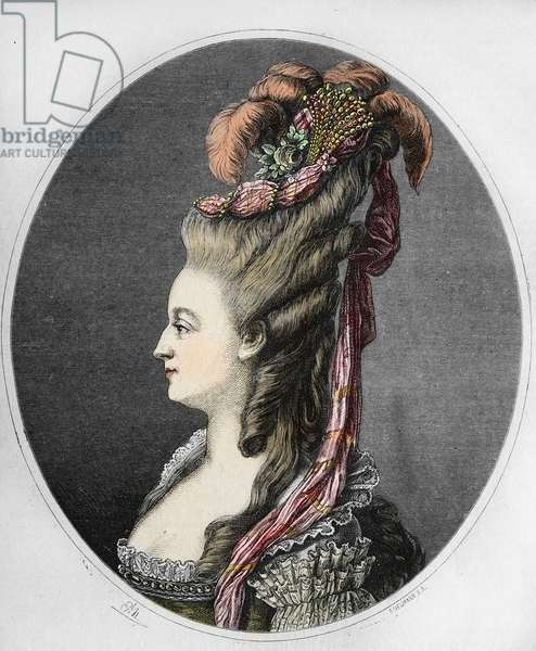 Portrait of the Queen of France Marie Antoinette (1755-1793) (portrait of queen of France Marie-Antoinette) Engraving, 19th century Private collection