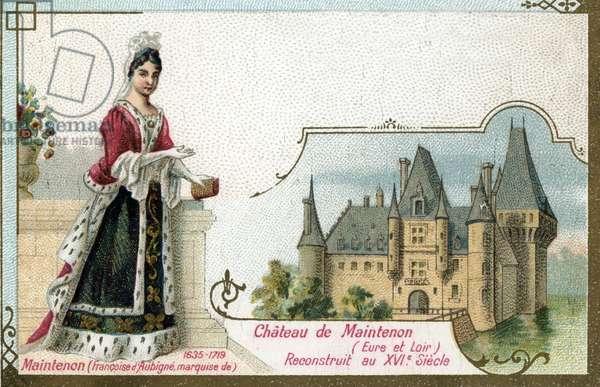 Portrait of Francoise d'Aubigne, Marquise de Maintenon (1635-1719) at the Chateau de Maintenon en Eure et Loir (Portrait of Madame de Maintenon in the castle of Maintenon) Chromolithography of the end of the 19th century Private Collection
