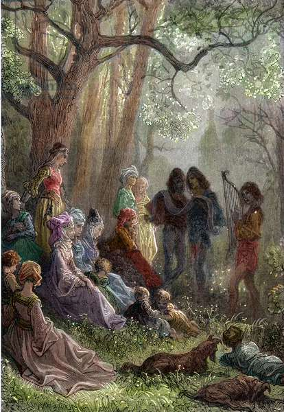 """The Queen of France Alienor d'Aquitaine (or Eleonore de Guyenne) during the stay in Antioche during the Second Crusade in 1148 surrounded by her followers and troubadours (Queen Eleanor of Aquitaine (1122 -1204) with her Provencal troubadours in Antioch, Syria, in 1148 during the Second Crusade) Engraving by Gustave Dore """""""" History of the World"""""""" by Ridpath 1885 Private Collection"""