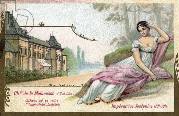 Portrait of the Impress Josephine de Beauharnais (1761-1814) at the Chateau de Malmaison in the Yvelines (Portrait of Josephine wife of Napoleon I) Chromolithography of the end of the 19th century Private collection