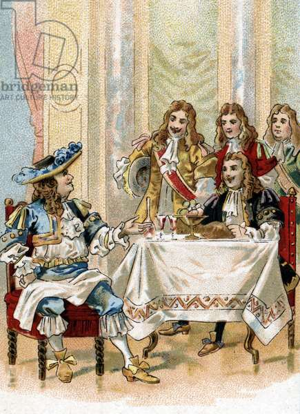 """King Louis XIV (1638-1715) received the comedian and playwright Jean Baptiste Poquelin dit Moliere (1622-1673) during a breakfast in the presence of the court at the chateau of Versailles in 1664 """"You see me busy eating Moliere that my officers do not find good enough company for them"""" (French writer Moliere eating with king of France Louis XIV in Versailles, 1664) Chromolithograph 19th century Private collection"""