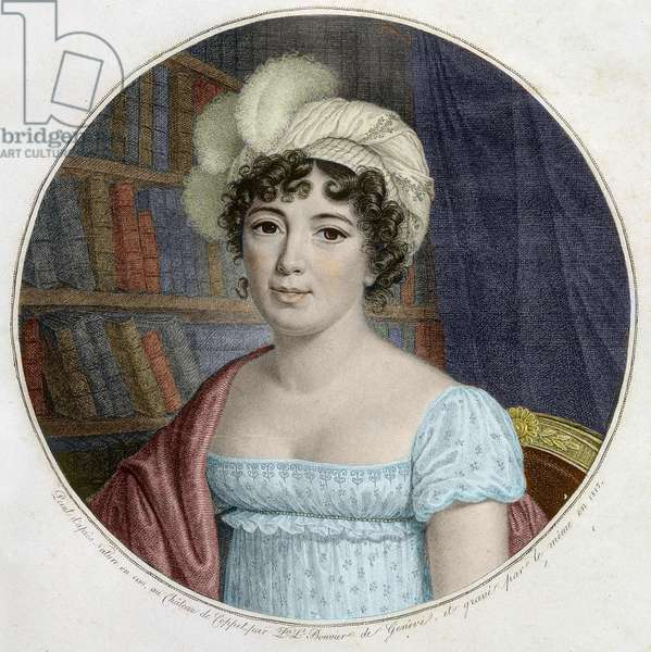 Portrait of Germaine Necker, Baroness of Stael-Holstein (Stael Holstein), dit Madame de Stael (1766 - 1817) - Engraving, 1817 - Portrait of Anne Louise Germaine de Stael swiss writer and salonniere -Engraving - private collection