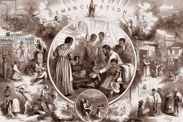 Allegory of the Emancipation Proclamation issued by President Abraham Lincoln on January 1, 1863 representing black people before and after signature