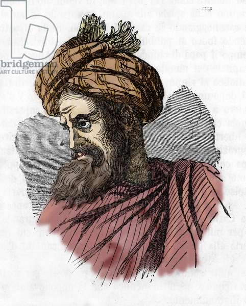 """Portrait of Soliman (Suleyman) I the Magnificent (1494-1566), sultan Ottoman (Suleiman the Magnificent) Engraving from """"I misteri del Vaticano"""" by Franco Mistrali 1843 Private collection"""