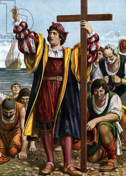 """The Arrival of the Explorer Christopher Columbus (1451-1506) in America, 1492 (The Landing of Christopher Columbus (Christopher Columbus, Cristoforo Colombo, Cristobal Colon) (1451-1506) in the New World, 12 October 1492) Illustration by Tancredi Scarpelli (1866-1937) from """""""" Storia d'Italia"""" (HiSTOIA"""" Italy) by Paolo Giudici, 1930 Private Collection"""