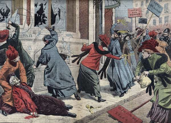 "Demonstration for the right of vote for women in London, England Illustration from ""Le pelerin"" 17/03/1912 Collection privee"