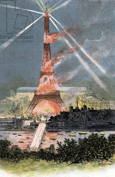 "Embrasement de la Tour Eiffel lors de l'exposition universelle de 1889 Paris (Eiffel tower illuminated during the world's fair in Paris 1889) Dessin de Gustave Fraipont (1849-1923) tire de """"La seine a travers Paris"""" de saint-Juirs, 1890 Collection privee"