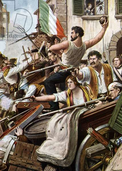 """Risorgimento: The Five Days of Milan (Cinque giornate di Milano) (18-22 March 1848): it is one of the first episodes of the Revolutions of 1848 (part of the First Italian War of Independence) that saw the rise of the Milanese population insurgent against the Austrian occupation of Josef Radetzky - the populaton of the barricades - ( Five days of milan, citizens on the barricades fighting against austrian occupation, march 1848) Illustration by Tancredi Scarpelli (1866-1937) from """"Storia d'Italia"""" by Paolo Giudici, 1930 Private collection"""