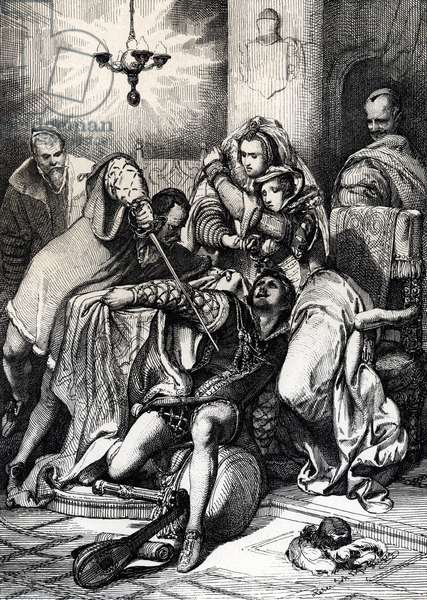"""The murder of Davide Rizzio (Davide Riccio or Davide Rizzo) (1533-1566), favorite of the Queen of Scotland Marie Stuart murdered by Lord Darnley (Henry Stuart), Queen's spousal, 1566 (Murder of David Rizzio (Davide) by Lord Darnley (Henry Stuart) in the presence of Mary Stuart (1542-1542-1587), 1566) Feather drawing from """""""" Historische Memorabilian des In -und Auslandes"""""""" (Historical Souvenirs) by Anton Ziegler, 1840 Private Collection"""