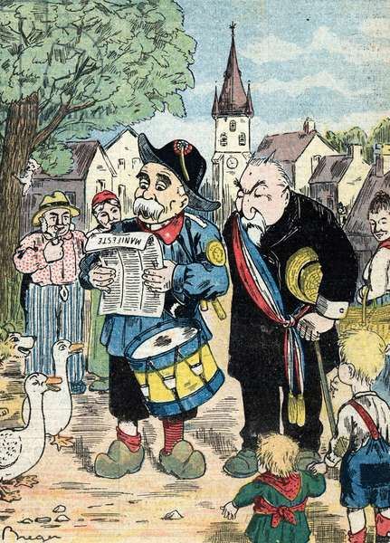 """Cartoon representing Georges Clemenceau and Emile Combes campaigning together in the French campaigns for the elections of 1913 (Caricature showing French statesmen Emile Combes and Georges Clemenceau running together for presidential elections of 1913) Illustration from """"Le pelerin"""" July 1912"""