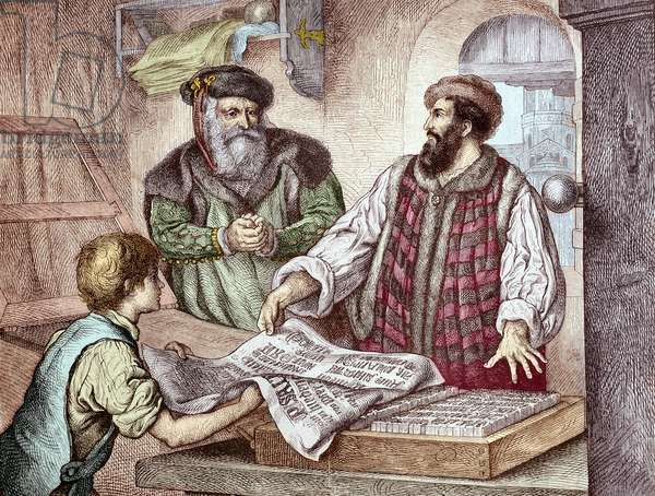 History of printing: first test of the Bible printed by the press of Johannes Gensfleisch Gutenberg (1400-1468) represented with Johann Fust (1400-1466) - 1453 The first proof sheet from Gutenberg's press, 1453 - Hand-colored woodcut of a 19th-century illustration