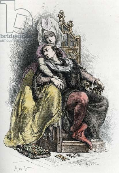 """"" King Charles VI of France (1368-1422) in the arms of his mistress Odette de Champdivers (1390-1425)"" (King Charles VI of France and his mistress Odette de Champdivers) Engraving, 19th century Private collection"