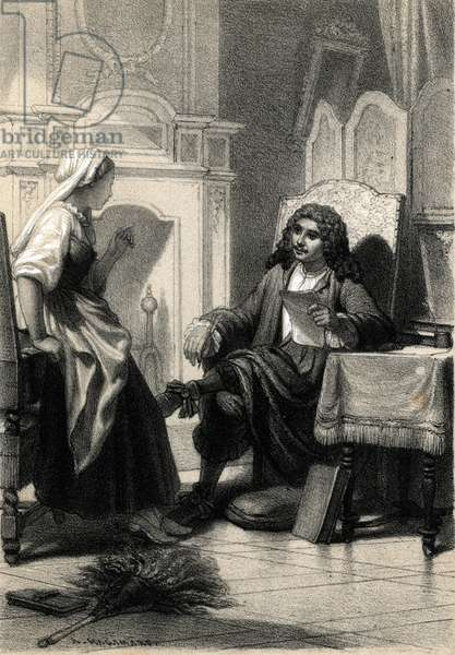 """Representation of Moliere (Jean Baptiste Poquelin) (1622-1673) listened to the advice of his servant La Forest (Portrait of french writer Moliere and his servant La Forest conversing about his plays) Engraving from """"Les-Celebrites-francaises"""" by Alfred des Essarts, 1862 Private collection"""