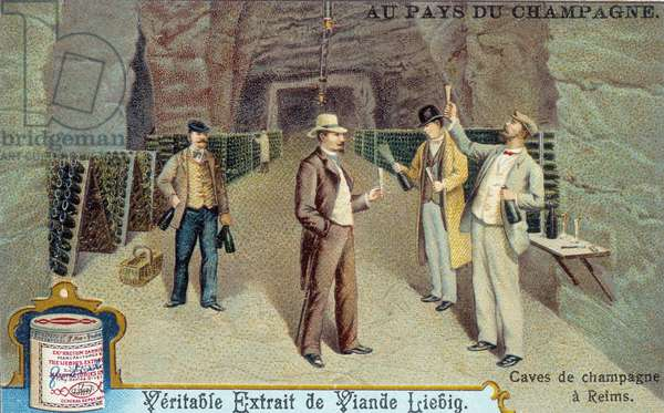 French speciality: the tasting of Champagne wine in a cellar in Reims (Marne) (French champagne wine tasting in a cellar) Chromolithography of the end of the 19th century Private collection