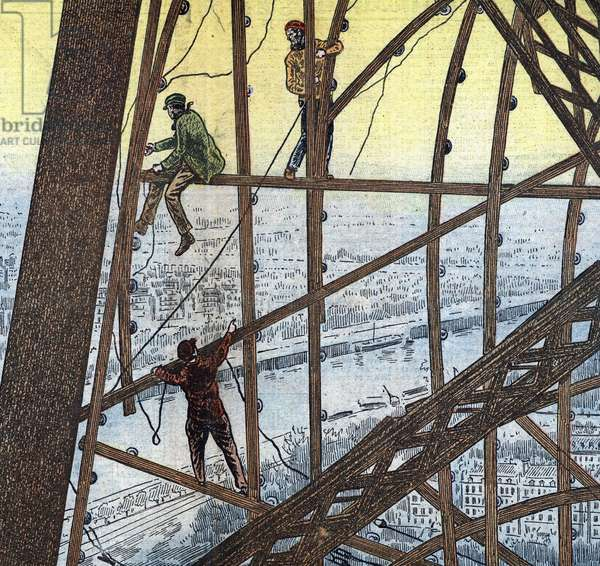 "Electrical workers maintaining the illumination system of the eiffel tower, Paris Illustration from """" Le pelerin"""" 1933 Private collection"
