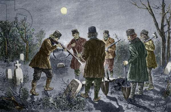 Vampire hunters shooting at the body of a vampire lying in a cemetery in Transylvania, Romania, a stake is plant in his body - Men shoot at a vampire, lying staked through the heart in a cemetery, Transylvania, Romania - Engraving from the end of the 19th century Private collection
