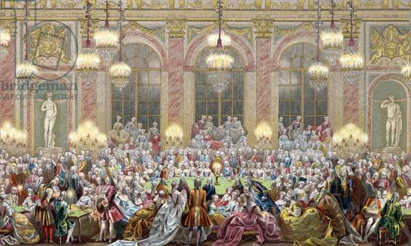 """Representation of a sitting of """""""" Jeu du roi"""""""" at the court of king Louis XV, the king's game, 18th century Engraving from """""""" 18th century - Institutions: usages et costumes, France"""" by Paul Lacroix, 1880 Collection privee"""