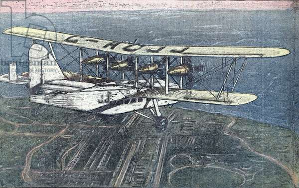 """First flight of Short Scylla airplane between London and Paris, June 1934 From """""""" Le pelerin"""""""" June 1934 Private collection"""