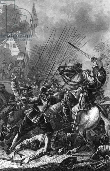 """Battle of Wimpfen during the Bohemian Revolt period of the Thirty Years' War on 6 May 1622 near Wimpfen, Germany Engraving from """"Bilder-Gallerie zur allgem"""" by Rotteck 1843 Private collection"""