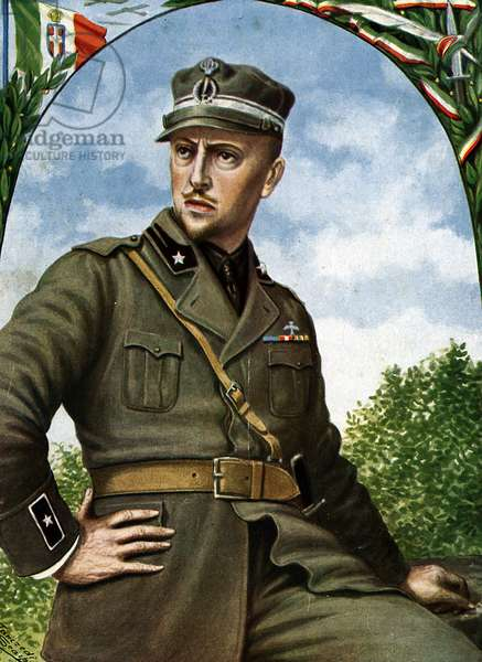 "World War I: """" Portrait of Gabriele D'annunzio (1863-1938) (WWI: Italian poet and soldier Gabriele d'Annunzio) Illustration by Tancredi Scarpelli (1866-1937) from ""Storia d'Italia"""" (History of Italy) by Paolo Giudici, 1930 Private collection"