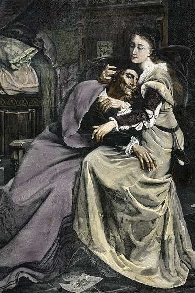 """King Charles VI (1368-1422) in the arms of his mistress Odette de Champdivers (1390-1425) (King Charles VI of France and his mistress Odette de Champdivers) Engraving from """""""" Les grandes infortunes"""""""" by Changer et Spont, 19th century Private collection"""