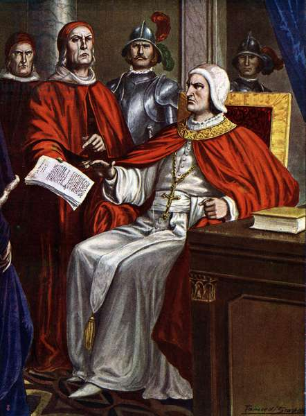 "Pope Clement VI (1291-1352) gives an ultimatum to the Visconti family, 1351 (Pope Clement VI negociating with the Visconti family, 1351) Illustration by Tancredi Scarpelli (1866-1937) from ""Storia d'Italia"" (History of Italy) by Paolo Giudici, 1930 Private collection"