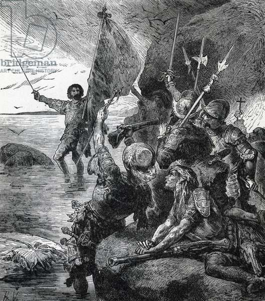 """The Spanish exploration expedition in Central America under the command of Vasco Nunez de Balboa (1475-1519) discovered the Pacific Ocean on September 25, 1513, after crossing the Isthmus of Darien (Colombia-Panama) (Balboa claiming possession of the South Sea 1513) Engraving from """"History of the world"""" by Ridpath 1885 Private collection"""