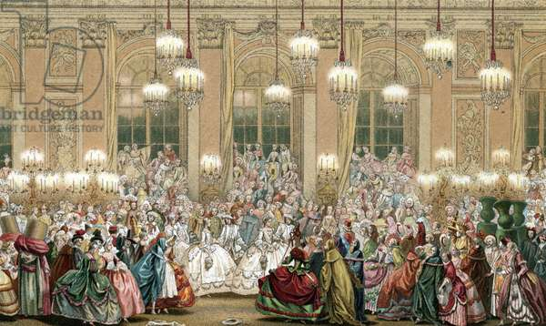 "Representation of a masquerade at the court of king Louis XV, 18th century Engraving from """" 18th century - Institutions: usages et costumes, France"" by Paul Lacroix, 1880 Collection privee"