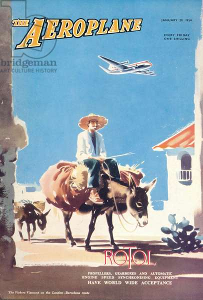 'The Aeroplane' magazine cover - Vickers Viscount on the London-Barcelona route, 1954 (colour litho)