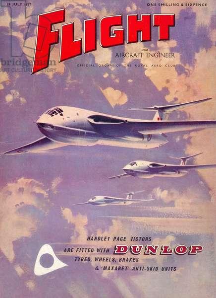 'Flight' magazine cover - Handley Page Victors, 1957 (colour litho)