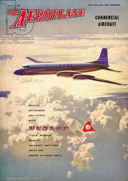 'The Aeroplane' magazine cover - Bristol Britannia, 1958 (colour litho)