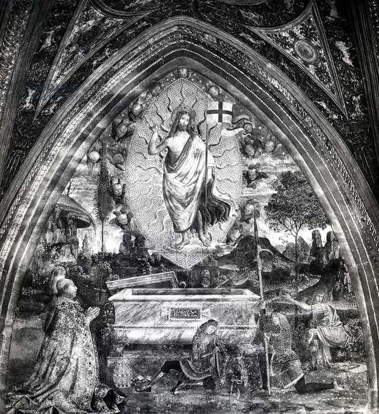 Pope Alexander VI (1431-1503) Adoring the Resurrected Christ (fresco) (b/w photo)