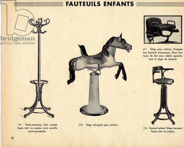 Catalogue extract for hairdresser seats for children