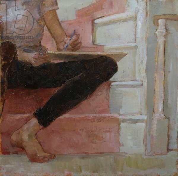Bent Leg on Staircase (oil on panel)