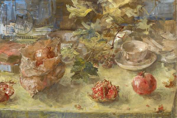 Pomegranates and Vine Leaves, 2006 (temperaand oil on panel)