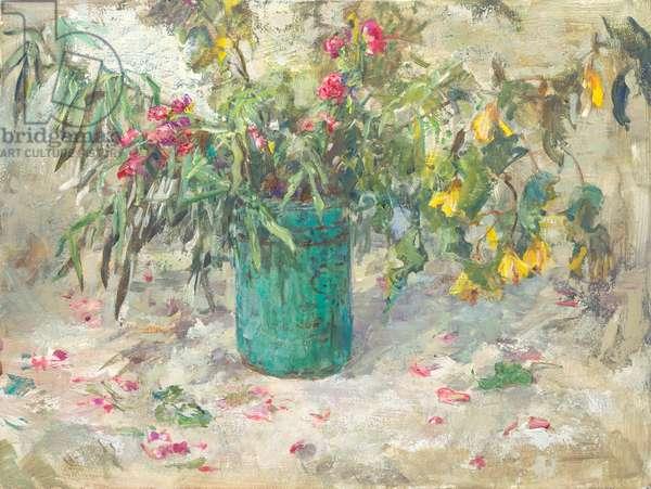 Yellow Abutilon and Rose Petals, 2014 (oil on panel)