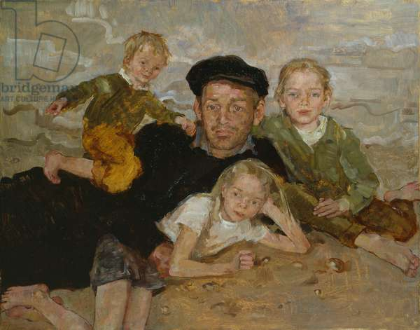 Michael, Beatrice, Isabel and Alfred (oil on panel)