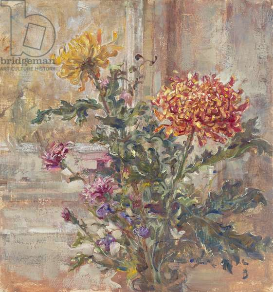 Crimson and Gold Chrysanthemum, 2014 (oil on panel)