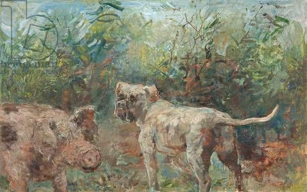 Bulldog and Boar, 2013 (oil on panel)