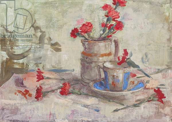 Cadmium Carnations and Blue Cup, 2005 (tempera and oil on panel)