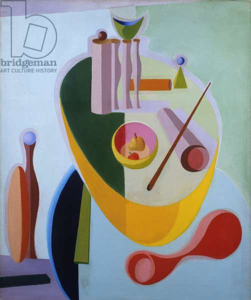 Collection of Objects on a Blue Table, 1934 (oil on canvas)