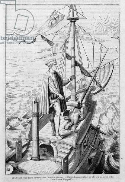 """Christopher Columbus standing on his ship, astrolabe in hand - after an engraving in the 4th part of the """"Great Voyages"""" (engraving)"""