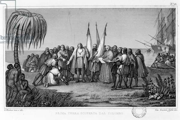 Christopher Columbus sets foot on a new land