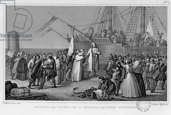 Christopher Columbus leaves for the new continent, engraved by G. Moricci (litho)