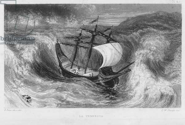 Christopher Columbus's caravel in the storm