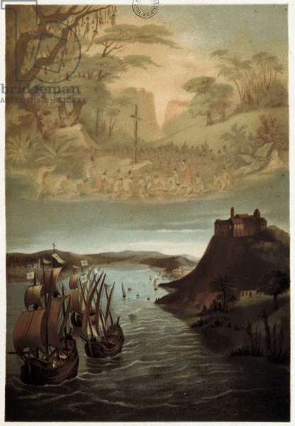 The caravels of Christopher Columbus at the start and the evangelization of America - Chromolithography, 19th century