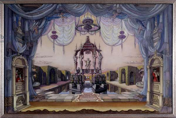 Stage Set for the Magic Flute by Wolfgang Amadeus Mozart, 1926 (colour litho)
