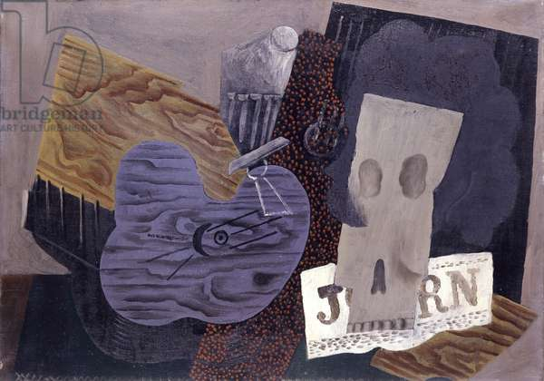Guitar, skull and Newspaper, 1913-1914 (oil on canvas)
